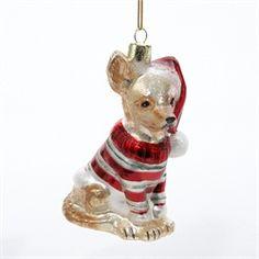 Festive Chihuahua Puppy Dog Glass Christmas Ornaments