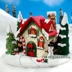 Bucilla Mary's Snow Cottage Felt Christmas Home Decor Kit 86162 House Felt Christmas Ornaments, Christmas Sewing, Christmas Gingerbread, Noel Christmas, All Things Christmas, Gingerbread Houses, Hanging Ornaments, Christmas Movies, Homemade Christmas