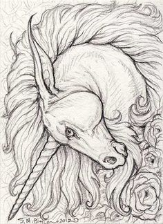 ACEO - Unicorn by ~synnabar on deviantART- replace with Lion head: | Beautiful Cases For Girls