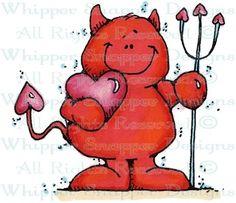 Lil' Devil & Heart - Valentine's - Holidays - Rubber Stamps - Shop