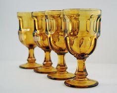 Amber Wine Glasses Set of 4 Vintage Item Libbey Ashburton