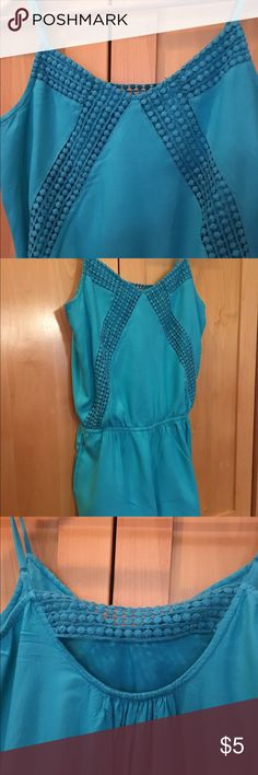 American Eagle Romper Cute AE aqua romper with pockets and knit embellishment in front and back. Gently worn but great condition. American Eagle Outfitters Other