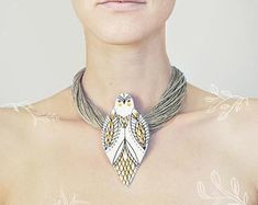 Painted necklace - white bird