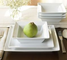 Love square white dishes.