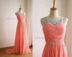 Coral Rosa Simple de la gasa de la boda vestido/dama por autoalive
