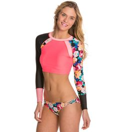 2b2542b8d8 Body Glove Breathe Sanctuary L S Swim Crop Rashguard at SwimOutlet.com -  Free Shipping
