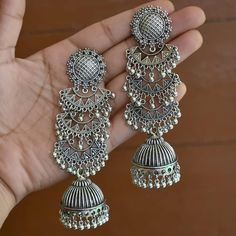 For placing order DM us . Indian Jewelry Earrings, Indian Jewelry Sets, Silver Jewellery Indian, Jewelry Design Earrings, Indian Wedding Jewelry, Bridal Jewelry, Silver Earrings, Silver Jewelry, Antique Jewellery Designs