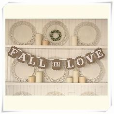 """Wedding Décor Romantic Vintage """" FALL IN LOVE""""  Engagement Banner Photo Booth Props – USD $ 9.99"""