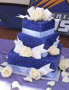 You'll create a big impact with this Blue Wedding Cake