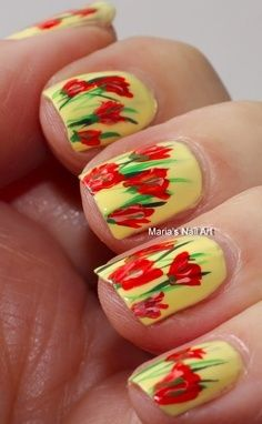 Tulip Nail Art- this would be perfect for spring <3