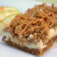 Caramel Apple Cheesecake Bars - cheesecake over a graham cracker crust covered…