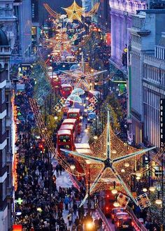 Oxford Street London England at Christmas. Best place to be in London at Christmas. Oh The Places You'll Go, Places To Travel, Places To Visit, Weihnachten In London, Oxford Street London, Carnaby Street, London City, Destinations, Beautiful Places