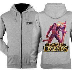 XXXL Garen League of Legends zip hooded sweatshirts for men