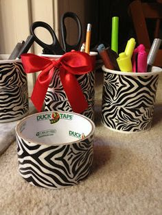 Quick and easy way to recycle icing containers into classroom storage containers for back to school organization!
