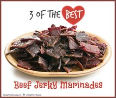 Here are 3 of the Best Beef Jerky Marinade Recipes I have found. Gluten Free Tamari & Honey Beef Jerky Recipe from Deliciously Organic, Paleo Beef Jerky using Coconut Aminos from Stupid Easy Pa. Chipotle Beef Jerky Recipe, Paleo Beef Jerky, Beef Jerky Marinade, Best Beef Jerky, Beef Jerkey, Jerky Rub Recipe, Gluten Free Jerky Recipe, Moose Jerky Recipe, Carne