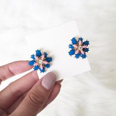 New blue and pink floral decor statement studs Shop priscillama.com for free shipping! Jewelry Earrings