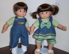 "American Girl 15"" Doll Clothing - Bitty Twins ""Green Gingham and Trucks"" Boy/Girl Denim Play Sets. $28.00, via Etsy."