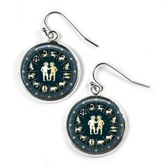 GEMINI Zodiac Star Sign - Glass Picture Earrings - Silver Plated (Art Print Photo) by RosettaLondon on Etsy