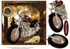 Time To Ride Bike Topper with Decoupage on Craftsuprint designed by Barbara Hiebert - This is a western steampunked themed motorcycle card topper, with the motorcycle parts for the decoupage.The sentiment tag says,Just For You - Now available for download!