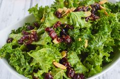 This kale cranberry salad with mandarin orange vinaigrette makes a hearty, healthy lunch salad! Bonus tip on how to deal with tough kale. Mandarin Orange Salad, Cranberry Salad, Vinaigrette, Lettuce, Kale, Almond, Salads, Artisan, Menu