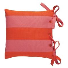 KENDALL Pink and red stripe chair pad 40 x 40cm