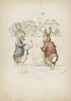 Helen Beatrix Potter (1866 - 1943) ~ Building A Snowman: signed with initials 'HBP.' on lower right of print; pencil and watercolour heightened with touches of white; 4 3/4in. x 3 1/4 in. (12 x 8.3 cm.)