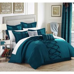 Chic Home Ruth Ruffled Turquoise Queen 8 Piece Comforter Bed In A Bag Set Teal Bedding Sets, Turquoise Bedding, Turquoise Home Decor, Sheets Bedding, Grey Bedding, Ruffle Comforter, Queen Comforter Sets, Comforter Cover, Duvet Covers
