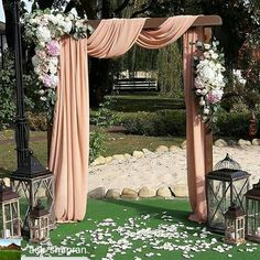 Ideas For Pergola Wedding Draping Wedding Draping, Wedding Arch Flowers, Wedding Ceremony Arch, Wedding Backdrops, Wedding Archways, Wedding Pergola, Outdoor Wedding Decorations, Ceremony Decorations, Outdoor Weddings
