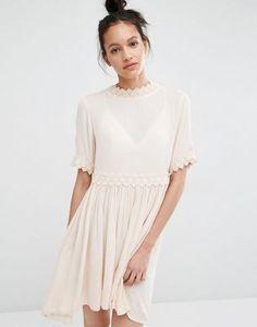 Vero Moda Cross Back Crochet Trim Dress