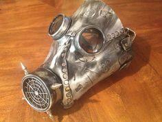 Handmade Leather Art Gas mask Burning Man Mask by MonkeyDungeon, $175.00