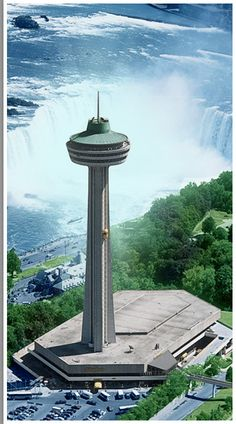 Skylon Tower Restaurant Niagra Falls - dinner at night when the falls are illuminated in various colors