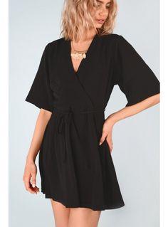 Black kimono wrap dress