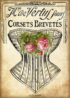 Instant Download Victorian Corset Digital Collage by GalleryCat