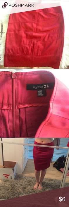 Forever 21 Red Satin Pencil Skirt Size M Forever 21 Red Satin Pencil Skirt Size M, worn one time for a work Holiday event-- great condition. 54% polyester 43% cotton 3% spandex. Also available in a metallic silver! Forever 21 Skirts Pencil