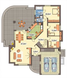 DOM.PL™ - Projekt domu HR LAWENDA wersja B z piwnicą CE - BUDYNEK TZ9-48 - gotowy koszt budowy Tuscan House Plans, Dream House Plans, 2 Bedroom House, 3 Bedroom Apartment, Home Design Plans, Plan Design, Architectural House Plans, Casa Patio, Clinic Design