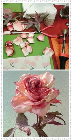 Best 12 Present perfect creations – Page 336925615863992587 – SkillOfKing. Wafer Paper Flowers, Tissue Flowers, Satin Ribbon Flowers, Silk Flowers, Peony Flower, Making Fabric Flowers, Fabric Roses, Flower Making, Leather Flowers