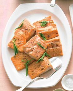 A simple yogurt sauce pairs nicely with broiled salmon; this elegant main dish comes together easily in about 15 minutes.