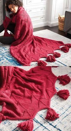 Horseshoe Lace Tasseled Knit Blanket Free Pattern