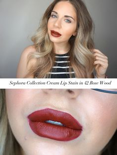 Sephora collection cream lip stain in rose wood Beauty Art, Diy Beauty, Beauty Women, Sephora Lip Stain, Best Lip Stain, Red Lips, Color Pop, Makeup, Hair