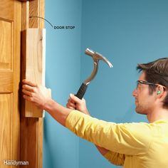 A door will rattle when there's too much space between the door and the door stop. The solution is to reduce or remove the gap. Here's one solution: Knock the door stop flush with a hammer and a scrap piece of wood. If the stop is more than 1/16 in. out of whack, you may end up with a noticeable unfinished spot where the door stop used to be, especially on painted doors. Add a couple of brads or finish nails to the stop if it's a door that regularly gets slammed shut.