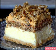 Cheesecake with nut foam - Swiatciast. Dessert Cake Recipes, No Bake Desserts, Delicious Desserts, Yummy Food, Polish Desserts, Polish Recipes, Kolaci I Torte, Christmas Cooking, Eclairs