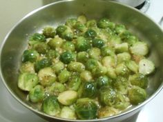 SWEET LEMON BRUSSEL SPROUTS!  Fresh brussel sprouts steamed till tender, then pan-fried in a light, sweet lemon and garlic sauce!  Serves 6.