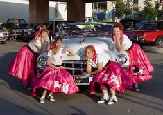 Cute poodle-skirt girls with car. ***girls' moms*** I do not care whether there's a poodle on the skirts! For real! 50s Rockabilly, Beatnik, Best Part Of Me, Poodle, Party Fun, Party Ideas, 1950s Costumes, Tulle, Greaser