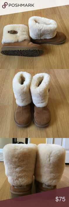Like new Uggs with folded down top, buckle Adorable short Ugg boots with fur at top and buckle detail on side. I don't think these were ever worn-- they are in excellent condition and look brand new. Chestnut color. UGG Shoes
