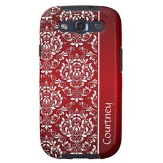 Red and White Vintage Damask Monogram GalaxyS3