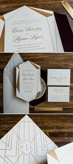 Gold Geometric Wedding Invitation by Penn & Paperie. Diamond Die Cut Invitation with Unique Shape. Modern Wedding Invitation with geo pattern and monogram.