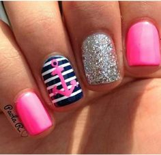 Nautical themed striped pink blue and silver nailart. #nailart #nails #mani #polish - For more nail looks or to share yours, go to bellashoot.com