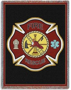 Personalized Firefighter Shield Tapestry Throw