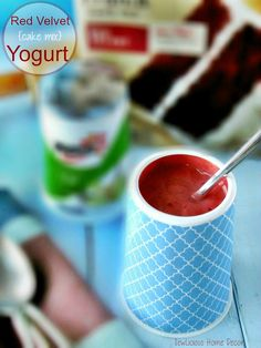 cake mix yogurt - this is red velvet, but you could try any flavor, just mix in 1-2t cake mix with 6oz yogurt