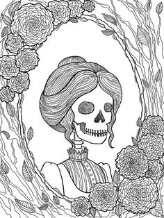 Pretty Dreadful coloring pages are adorned with the creepy and macabre. This set includes a Victorian skeleton, a raven, a goblin, love from beyond